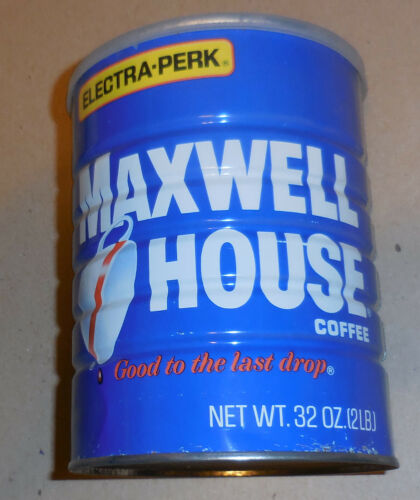 Vintage Maxwell House Coffee Electra - Perk EMPTY tin Can with lid 32 oz size
