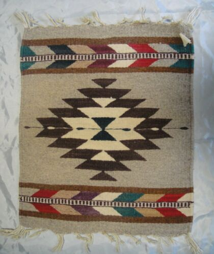 """Vintage Chimayo Handwoven Wool Weaving New Mexico Multi-Color 16"""" x 19"""" +Fringe"""