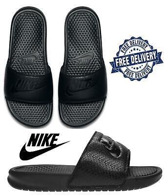 Men's Nike Benassi JDI Beach Flip Flops Beach Sandals Indoor Pool Sliders  Black
