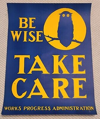 Works Progress Administration (WPA) Original Silkscreen Poster Owl Moon Be Wise