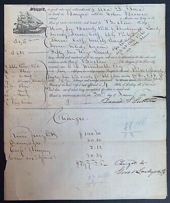 1841 NEW ORLEANS PRINTER STAMPLESS COVER SHIP CAPTAIN'S LETTER Bark John Brower