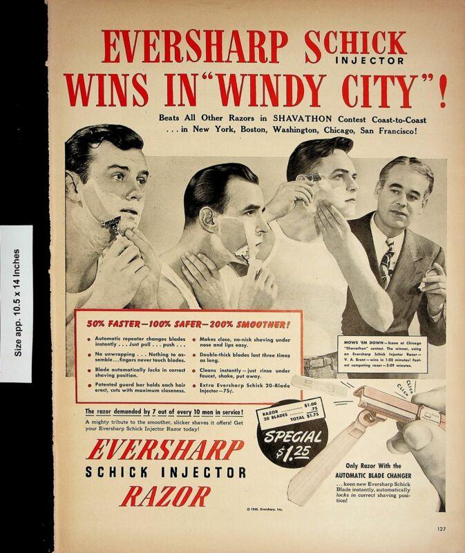 1946 Eversharp Schick Injector Razor Men Vintage Print Ad 4621