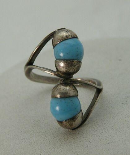 Vintage Modernist Sterling Cupped Turquoise Balls Bypass Ring Mexico Eagle 3 ISV