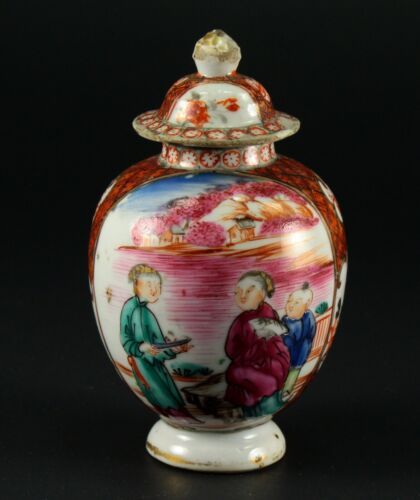 ~1735-1796 QIANLONG Qing Chinese Fine Porcelain Tea Caddy Famille Rose Baluster