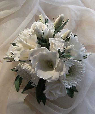 "Rose, Lisianthus & Chrysanth Sugar Flower Posy Cake Decoration Topper 7"""