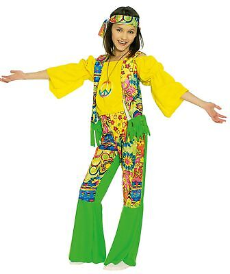 3tlg. Hippie Kostüm Kinder Gr.140/152 Retro 60er 70er Festival Karneval Fasching
