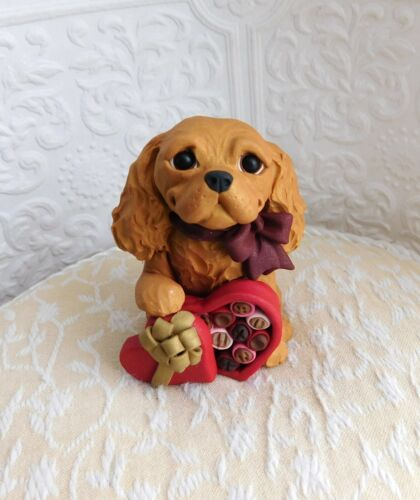 Cavalier King Charles Valentine Heart Candy Box sculpture Clay by Raquel theWRC