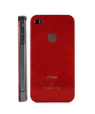 Cover Rígido IPHONE 4 4S Color Rojo Lado Transparente Nuevo Color
