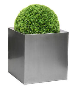 Zinc Galvanised Steel Silver Cube Planter Patio Garden Plant Flower Pot Outdoor