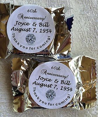 60th Anniversary Favors (90 Diamond 60th Wedding Anniversary stickers to make Peppermint Patty)