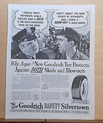 1940 magazine ad for Goodrich Silvertown Tires -Which is Worse Skid or Blowout?
