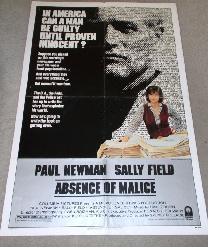 "ORIGINAL MOVIE THEATRE ADVERTISING POSTER, ""ABSENCE OF MALICE"",1981."