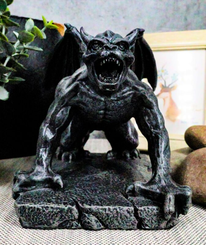 Ebros Winged Demonic Gargoyle Statue Gothic Night Crawler Sentry Stone Devil