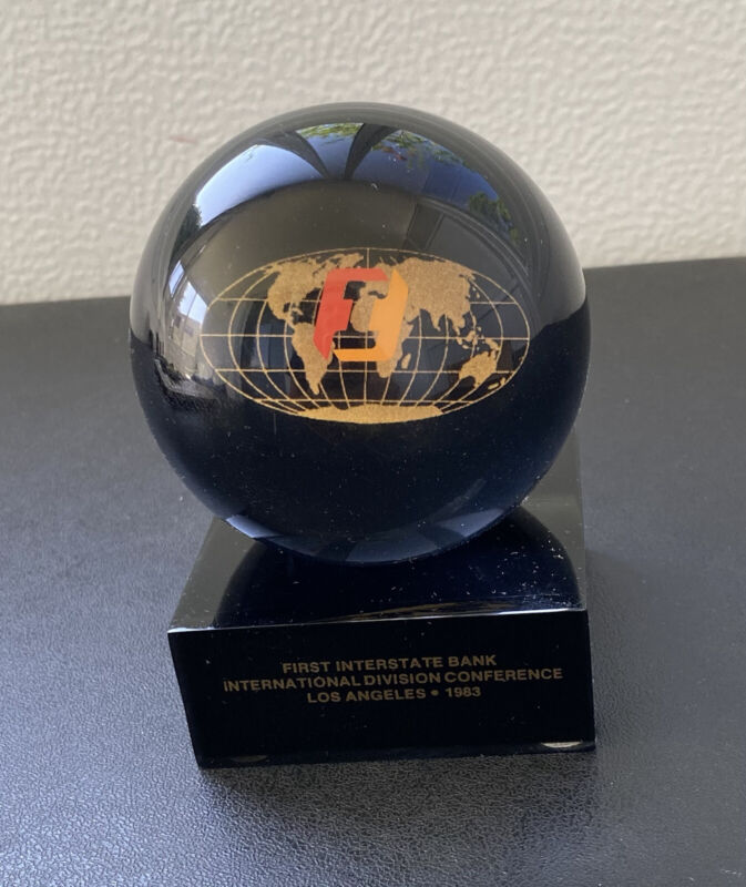 Orb Paperweight-First Interstate Bank 1983-International Div. Conference L.A.