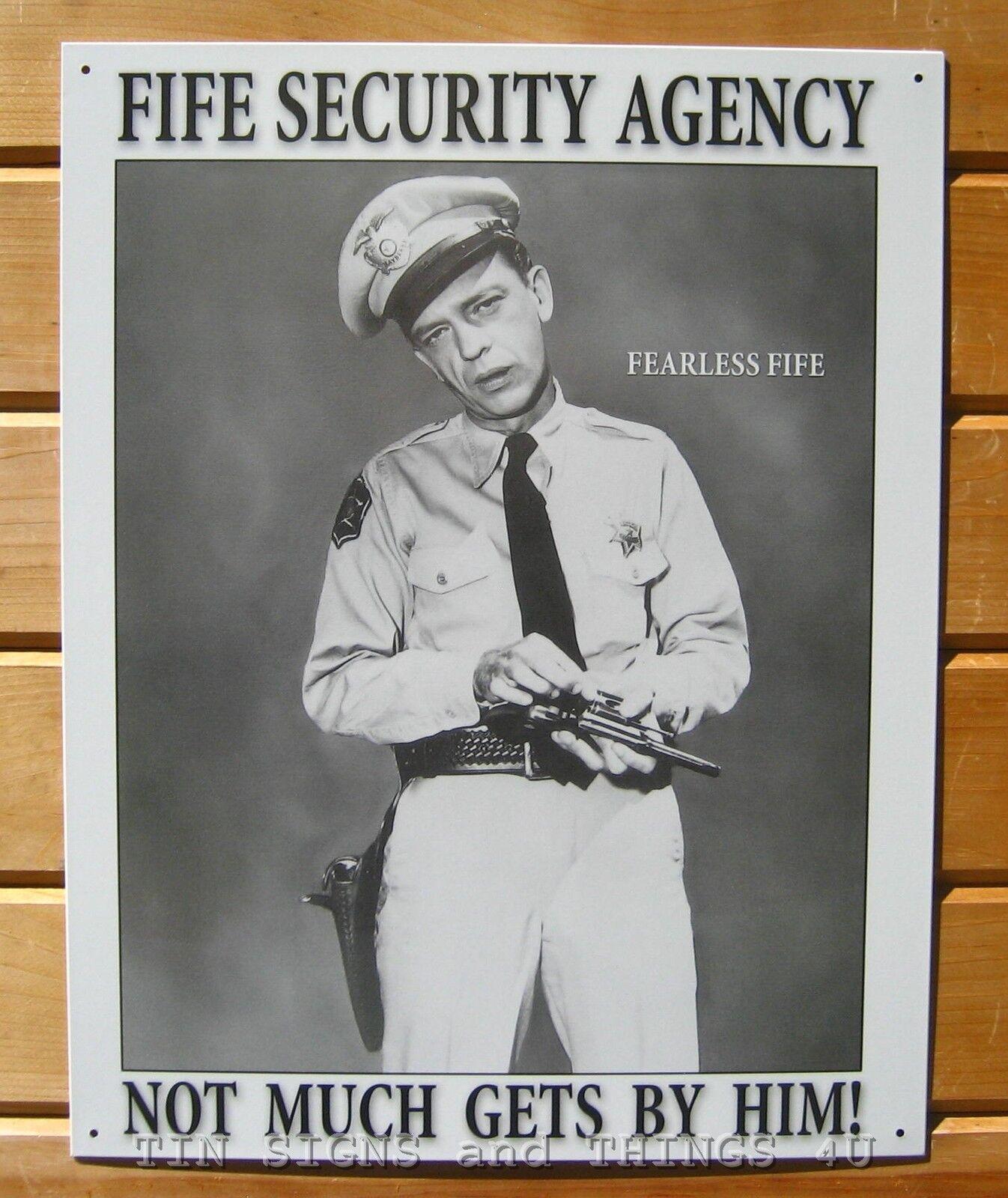 Barney Fife Security Agency Tin Sign Metal Wall Decor Vtg Andy Griffith Show 809