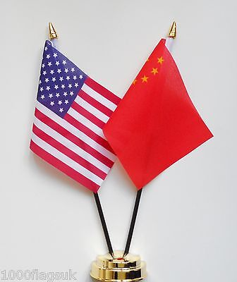United States of America & China Double Friendship Table Flag Set