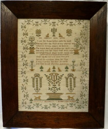 MID 19TH CENTURY MOTIF & ON CHRIST OUR LIFE VERSE SAMPLER BY NAOMI HOBBS c.1845