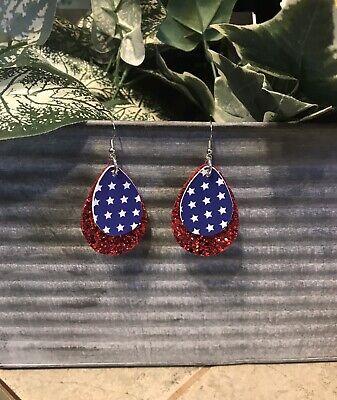 "Faux Leather Earrings 2"" Teardrop Red White Blue 4th Of July Stars Glitter 2 White Leather Earring"