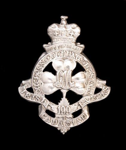 199th Canadian Irish Rangers Battalion Cap Badge Hallmarked Silver