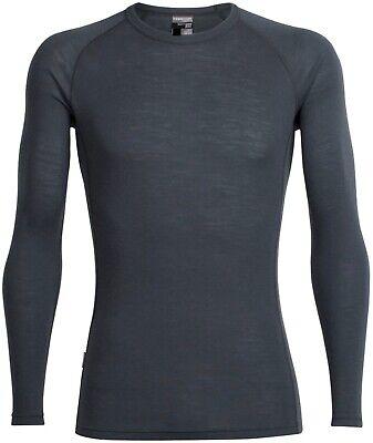 Mens XL Icebreaker 100% Merino Wool Baselayer Top Extra Large Monsoon Dark Grey