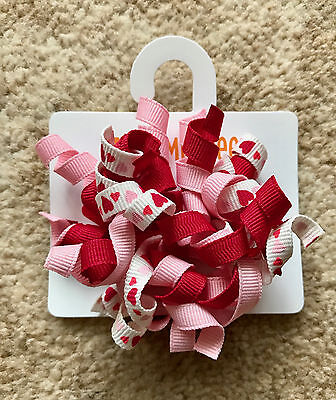 Gymboree Girls Hair Clips x 2 (Red and White with Love Hearts), Brand New - G241
