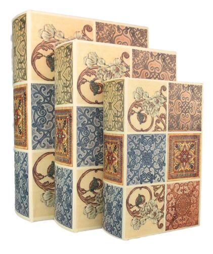 NEW - Wood Antique Book Box, Set of 3 - Storage - Kensington - FREE SHIPPING!!!