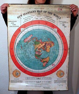 "Flat Earth PVC Poster Prints GLEASONS NEW STANDARD MAP OF WORLD 1892 (40"" x 28"")"