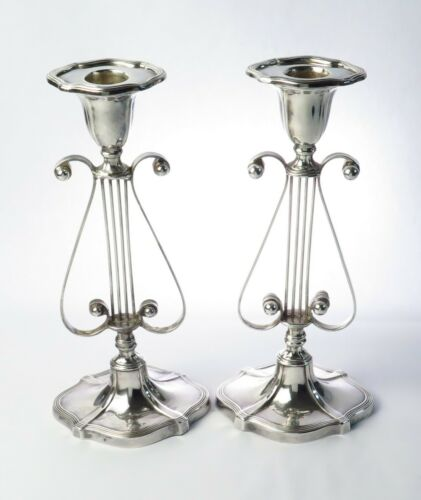 Antique Barbour Silver Co Lyre Form 1890s Silverplate Candle Stick Pair