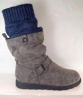 MUK LUKS Sky Grey Faux Suede/Fur Biker Sock Vegan Boots Women US 10 Minimal Wear