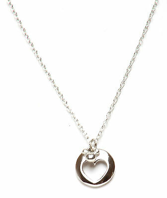 DISNEY MICKEY MOUSE  HEART PENDANT NECKLACE silvertone