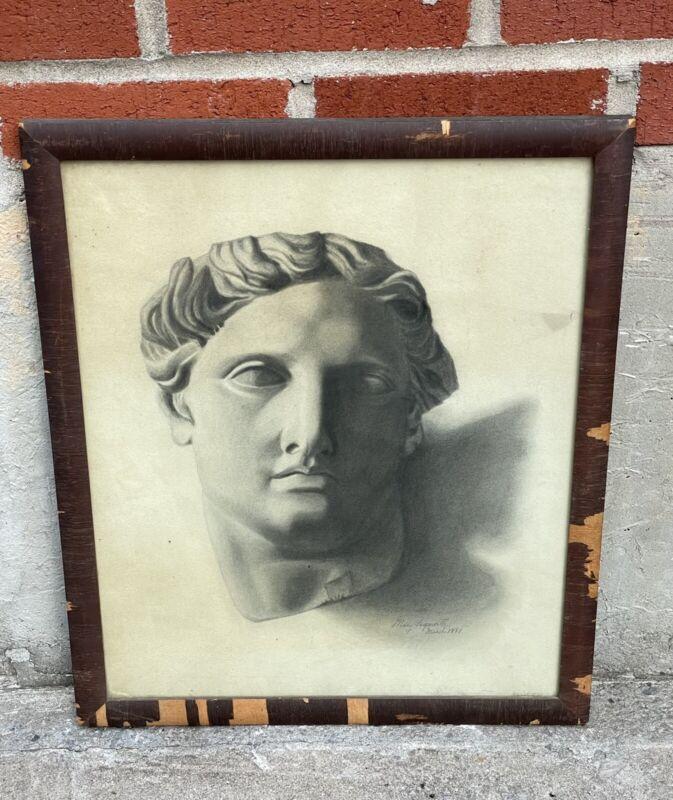 Antique Charcoal Drawing 19th Century Greek Mythology Statue Artist Signed Art