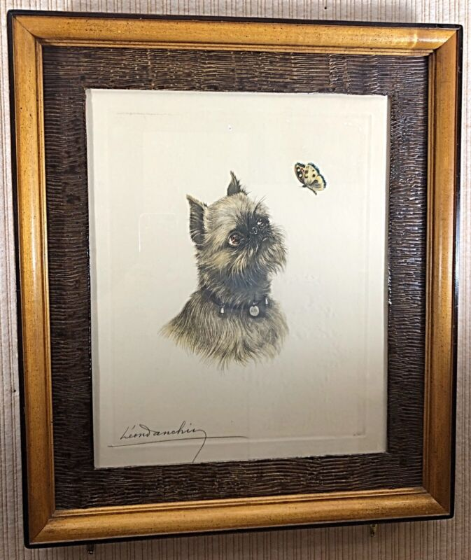 LEON DANCHIN LT ED ETCHING OF A BRUSSELS GRIFFON DOG WITH BUTTERFLY, 1930