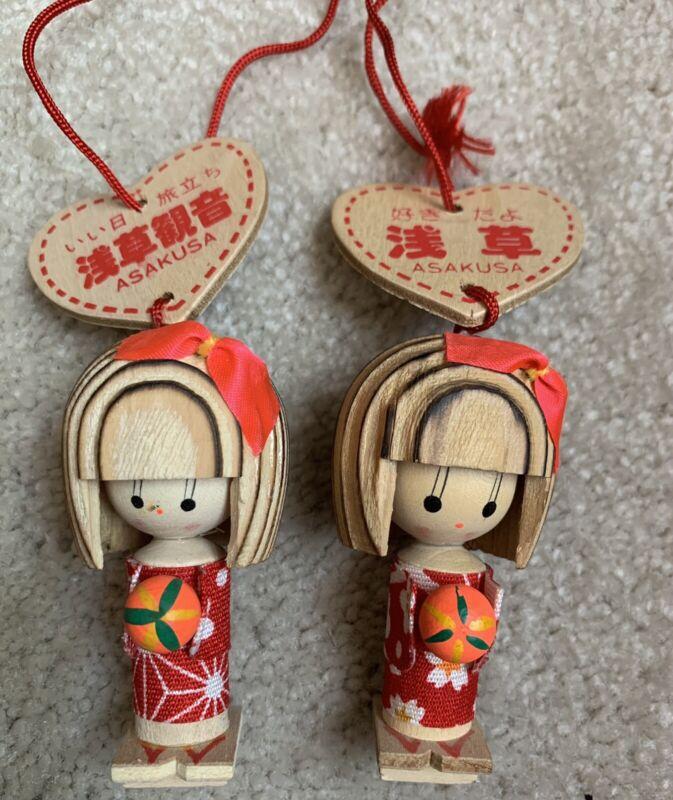 Vtg Kokeshi Geisha Girl Wooden Christmas Ornaments Set Of Two ASAKUSA- Japan