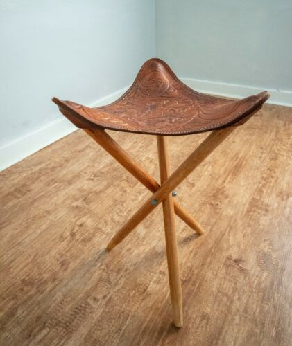 Vintage folding tripod stool, Tooled leather, Embossed leather, Fishing and Hunt