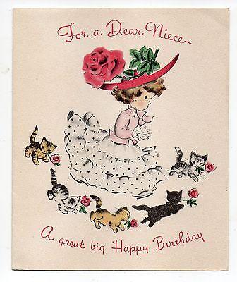 Vintage Norcross Birthday Greeting Card Little Girl Kitten Cats 1950's