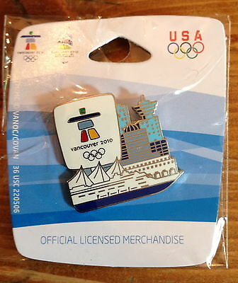 (Vancouver 2010 Skyline with Cruise Ship Olympic Pin)