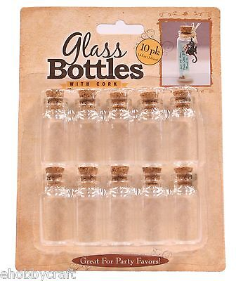 Creative Hobbies® Small Decorative Clear Glass Bottles with Cork - 10 Pack