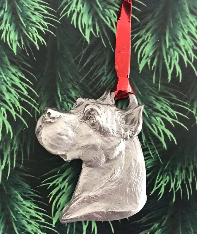 Pewter Silver Pit Bull  Terrier Dog Puppy Paw Christmas Tree Ornament Gift E
