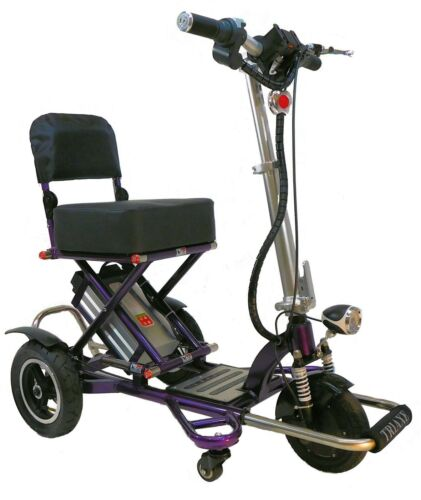 Purple Triaxe Sport Folding Scooter, 350 Cap, 12 Mph, 35 Miles Per Charge, Lite