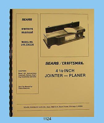 """Sears Craftsman 4"""" Jointer 149.236220 Owners & Parts List Manual #1124"""