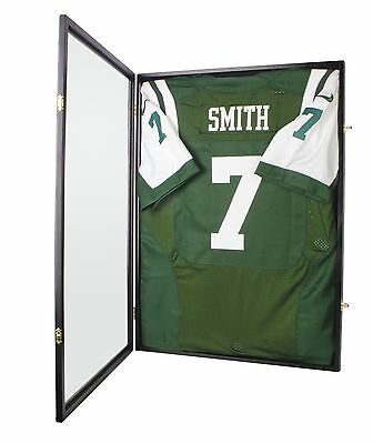 (LOCKABLE Sports Jersey Shadow Box Wall Display Case Rack Frame Cabinet 98% UV )