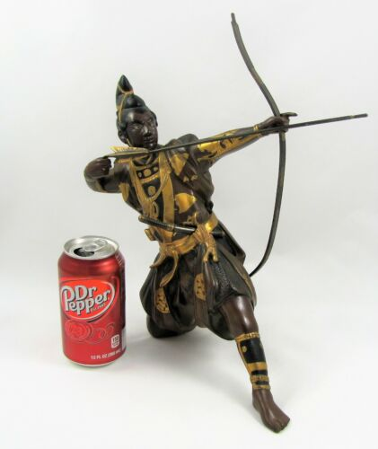 Vintage SIGNED Bronze Hand-Painted Warrior With Bow and Arrow