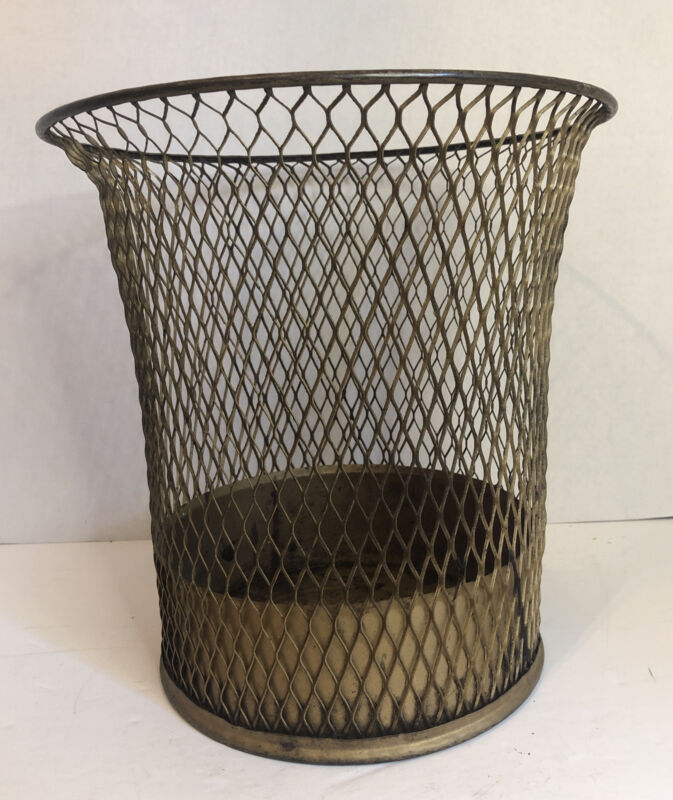 Antique Industrial NEMCO USA Wire Mesh Office Waste Basket Trash Can Vintage