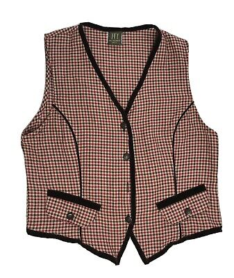 I.V.Y Collectibles Women's Small Petite Button Up Vest Houndstooth Back Buckle