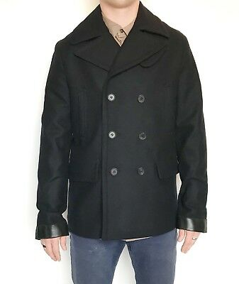 All Saints Wool & Leather Felix Peacoat. Retail $560 Price $220 36 Size S NWT