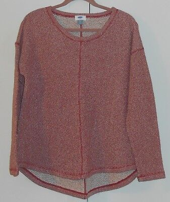 WOMEN'S OLD NAVY RED MARLED FRENCH-TERRY PULLOVER - SIZE MEDIUM