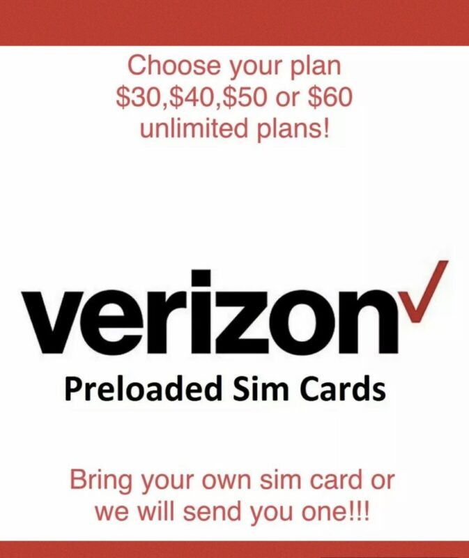 Verizon Prepaid Preloaded Sim Cards -Pick Your Plan -DOUBLE DATA PROMOTION