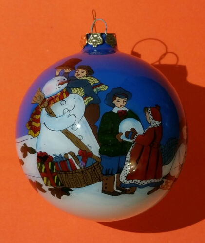 Alessandra Glass, Eglomise hand painted Snowman Christmas tree ornament Eglemise