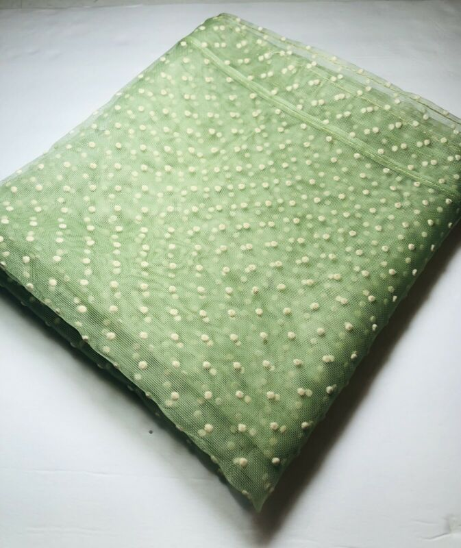 Vintage Green with Cream Dots Flocked Sheer Nylon Curtains 2 Green Panels 2 Dot