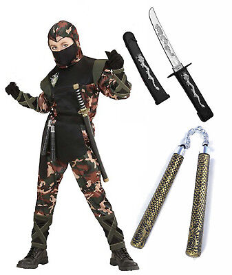 Boys Kids Ninja Army Camouflage Soldier Fancy Dress Costume Outfit 5-13 + Toys](Camouflage Ninja Costume)
